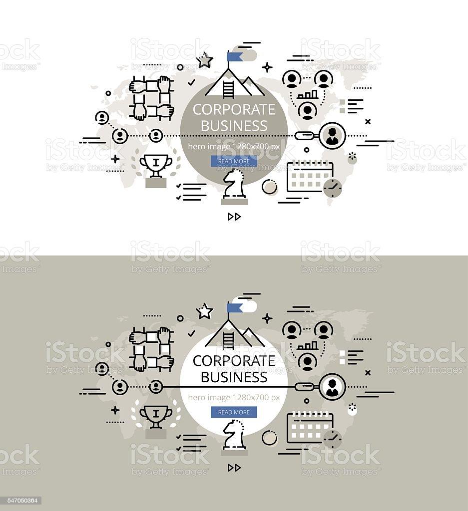 Corporate business. Flat line color hero images design concept vector art illustration