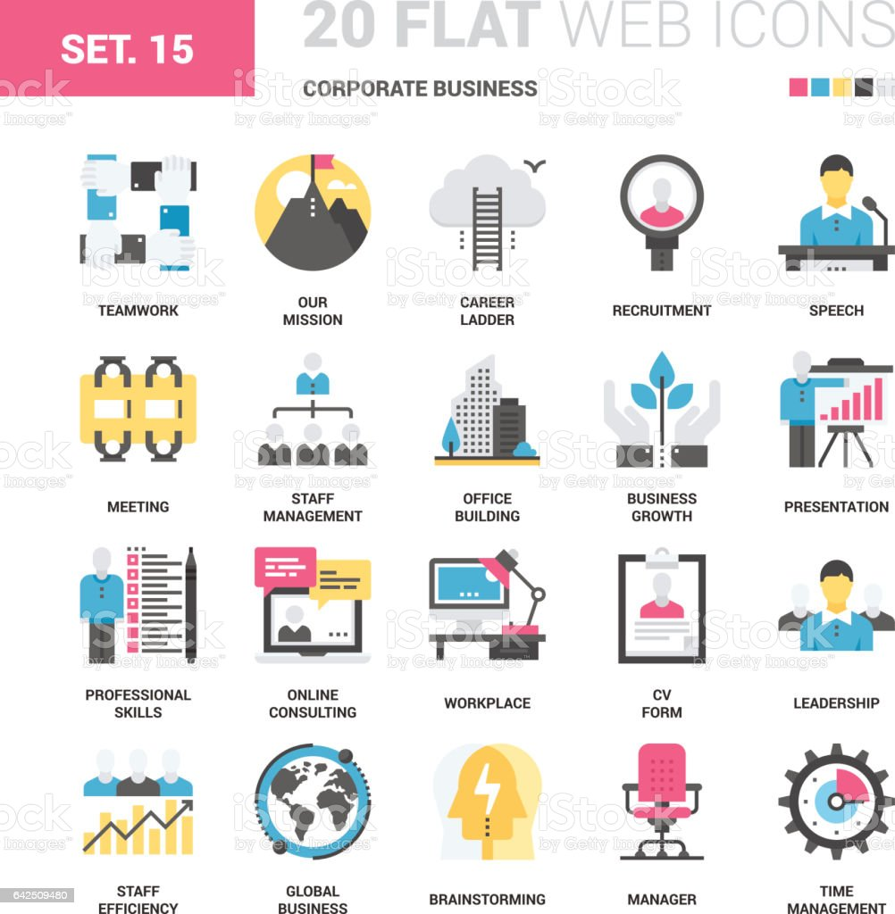 Corporate Business Icons vector art illustration
