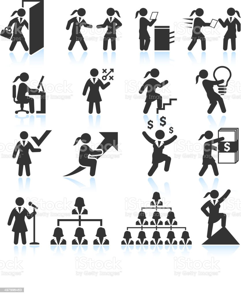 Corporate Businesswoman black & white royalty-free vector interface icon set vector art illustration