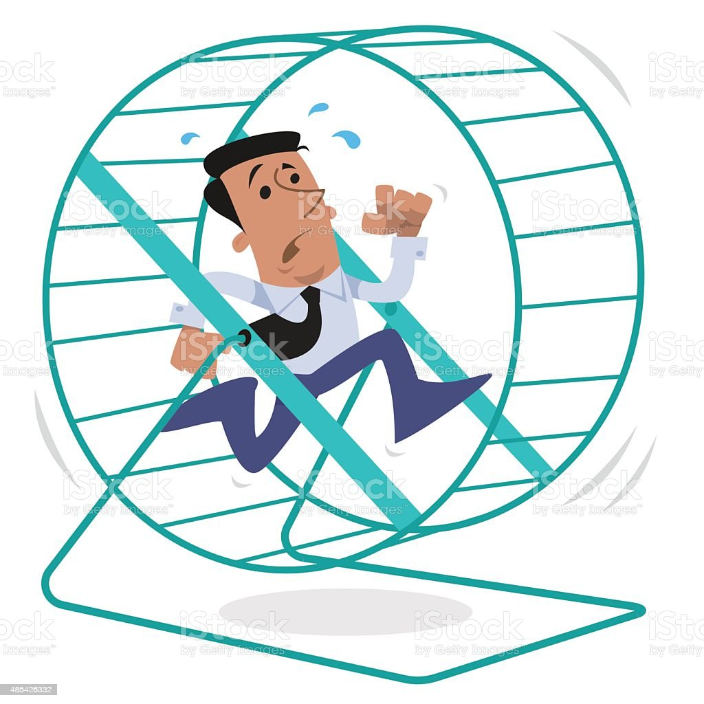 Corporate character running on a hamster wheel vector art illustration