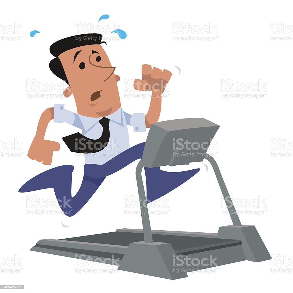 Corporate character running on a treadmill vector art illustration