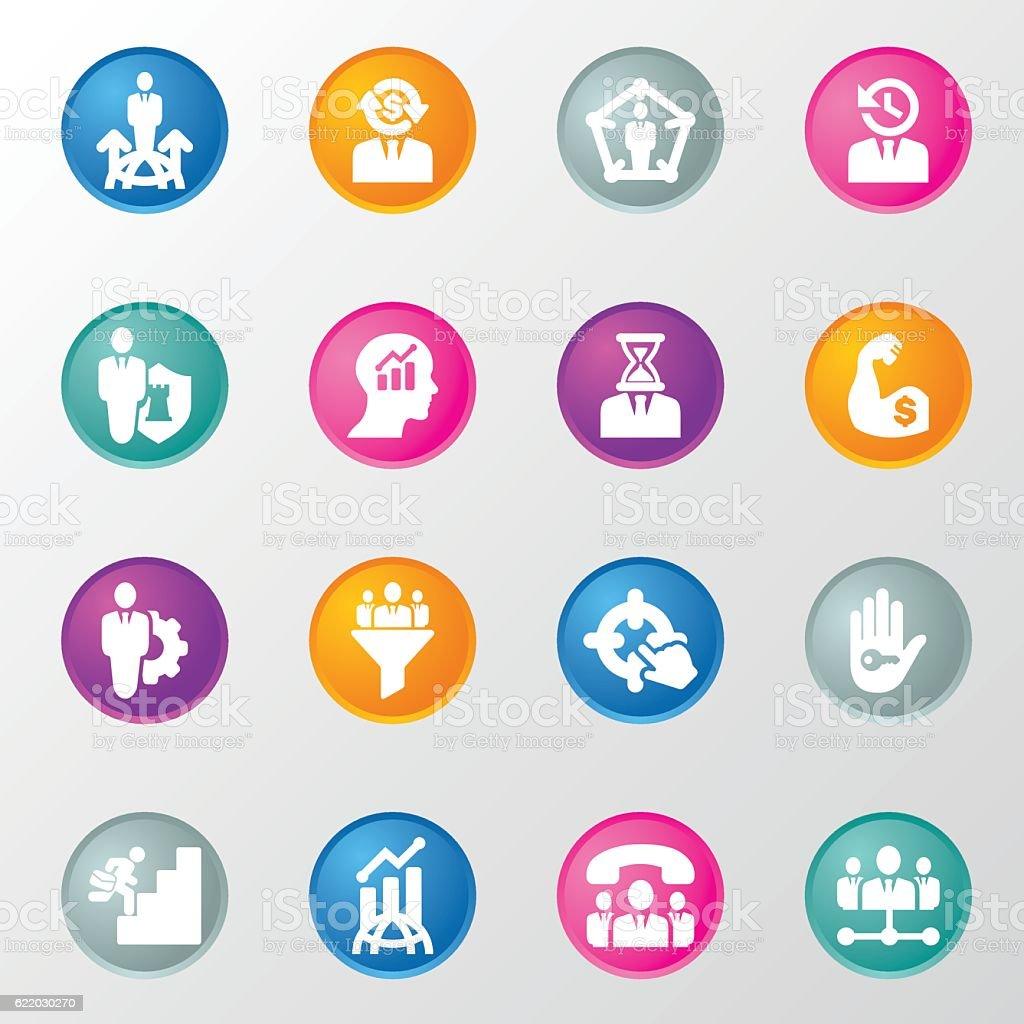 Corporate DevelopmentCircle Colours Icons vector art illustration