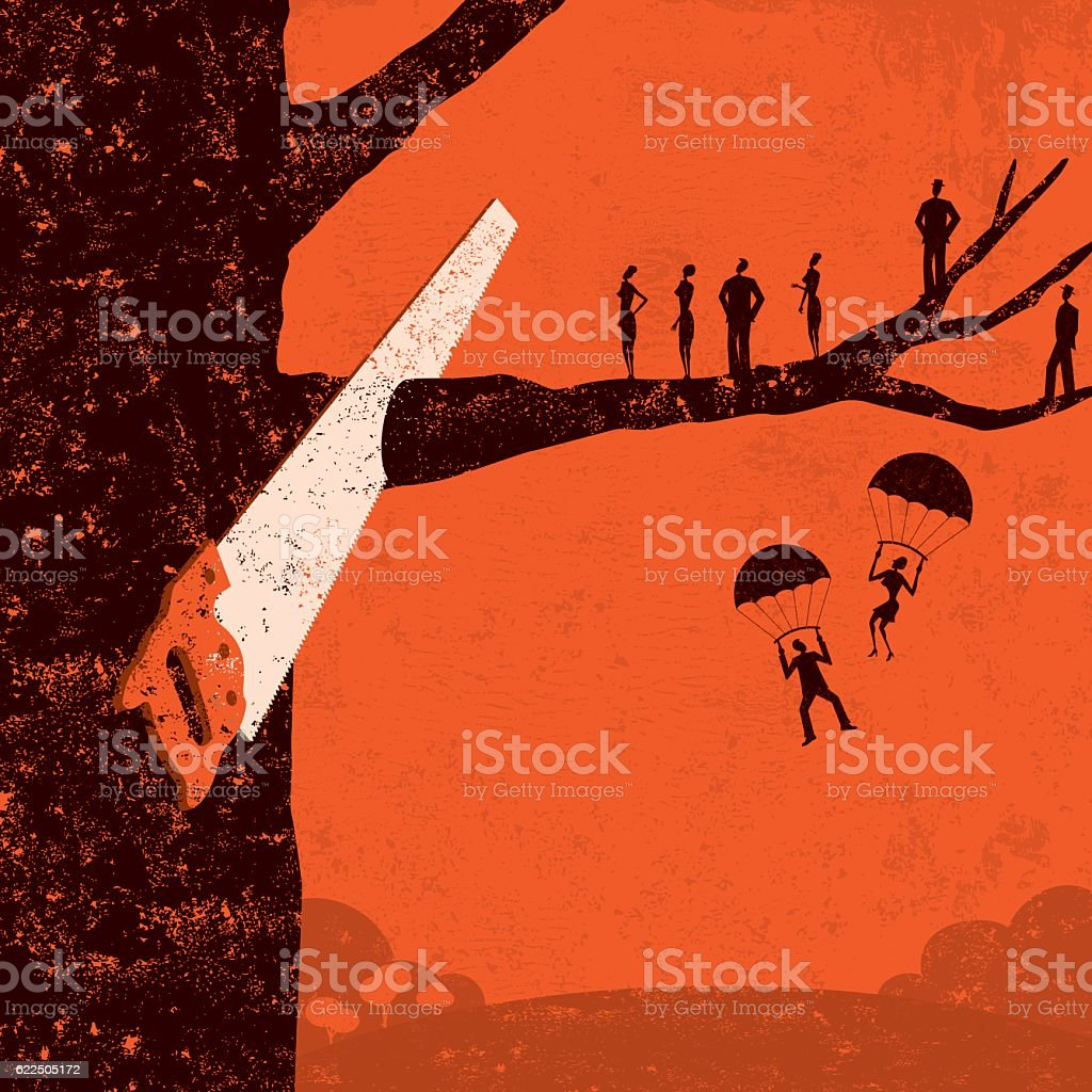 Corporate Downsizing vector art illustration