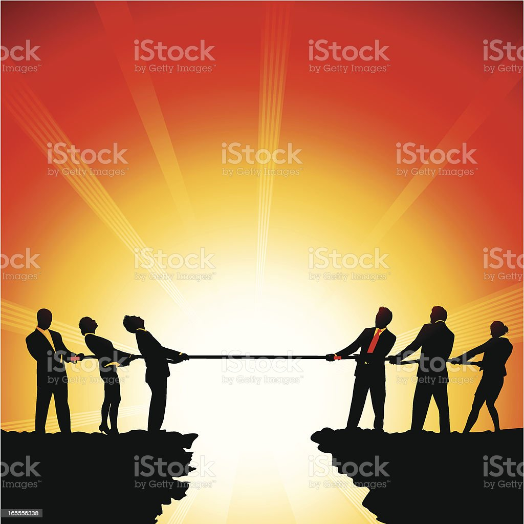 Corporate Duel vector art illustration