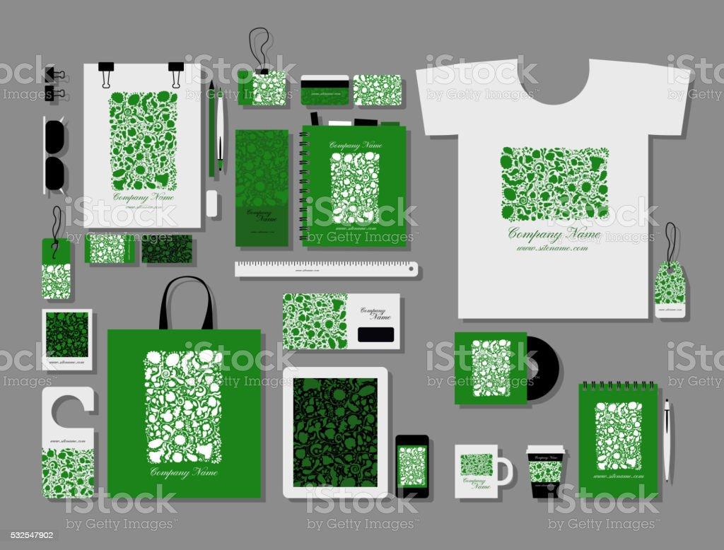 Corporate flat mock-up template, floral design vector art illustration