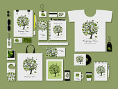 Corporate flat mock-up template, tropical tree design