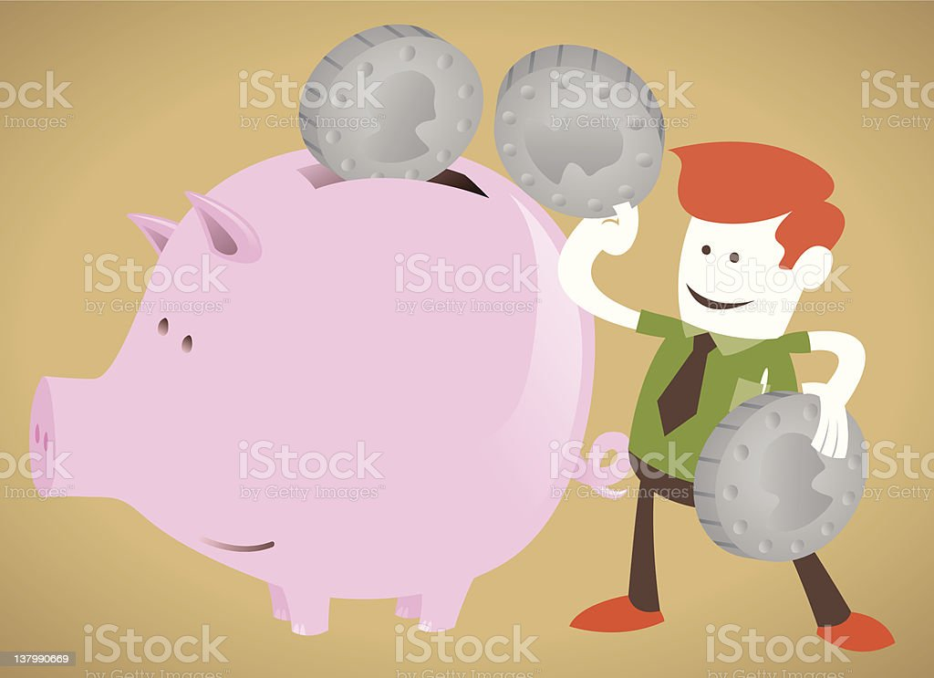 Corporate Guy decides to save his money royalty-free stock vector art