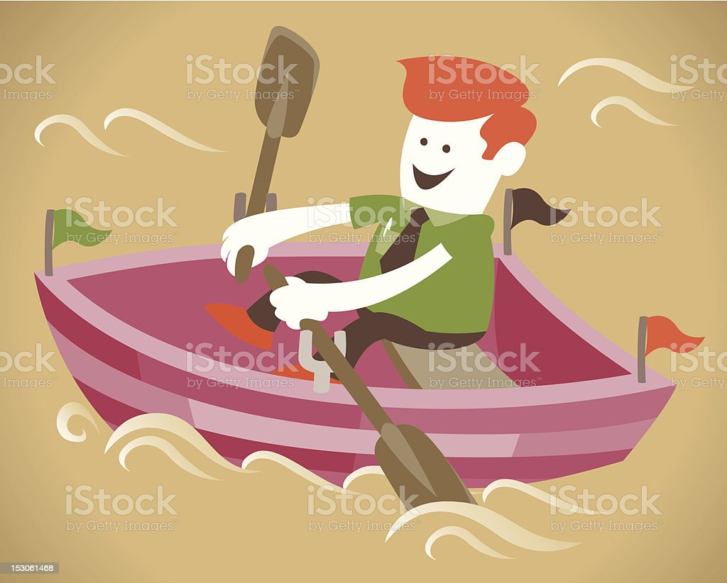 Corporate Guy in his boat royalty-free stock vector art