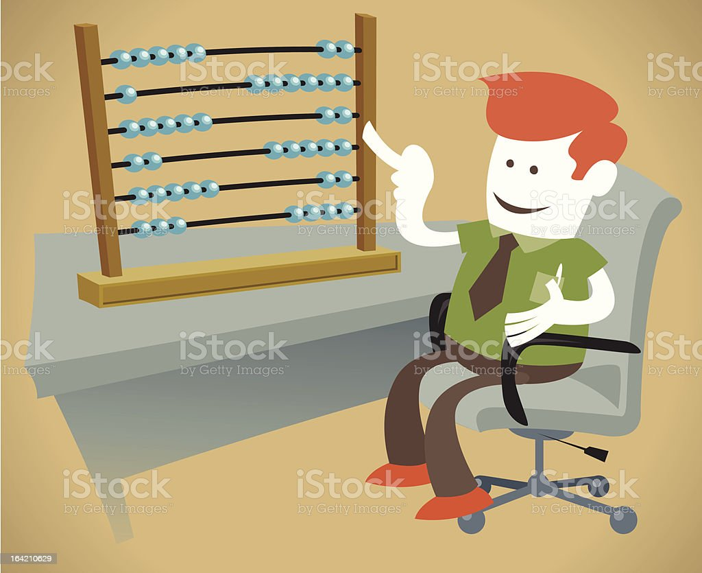 Corporate Guy is counting on his Abacus royalty-free stock vector art