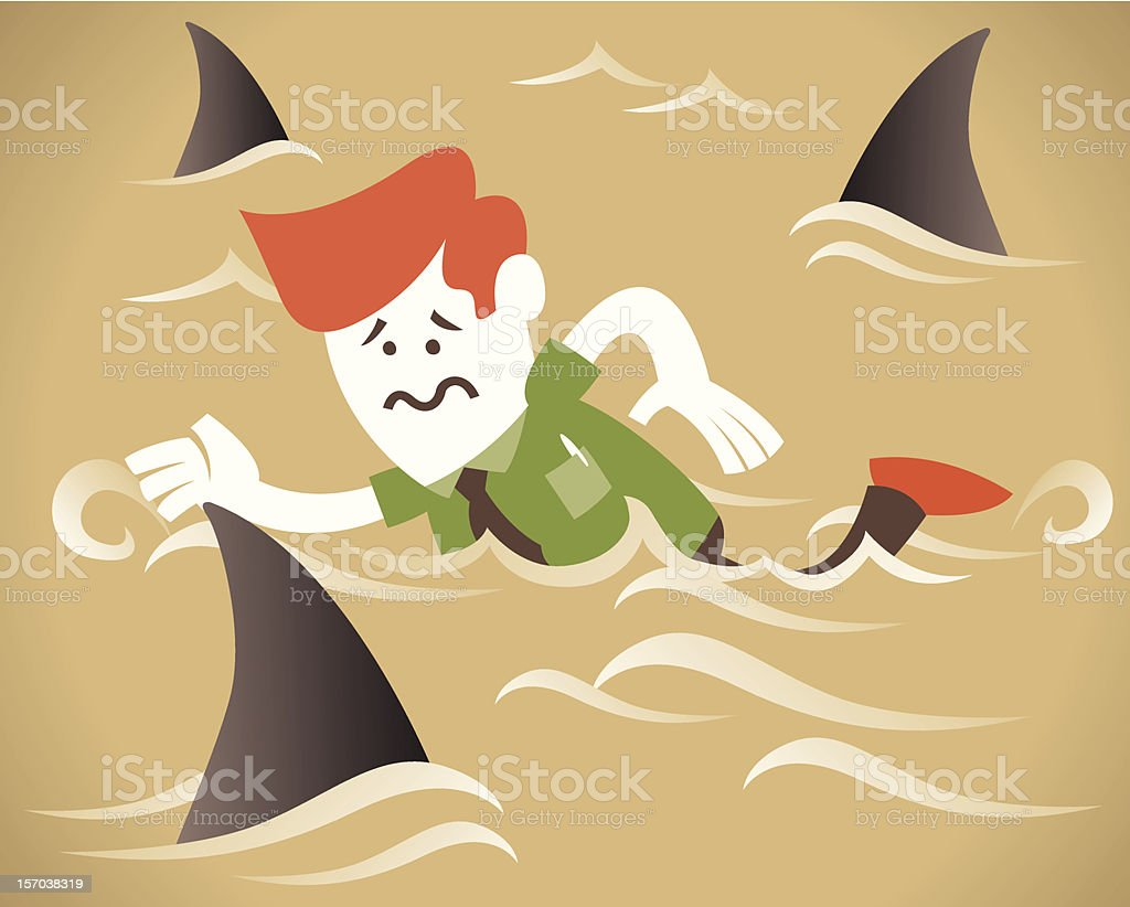 Corporate Guy swims with the sharks royalty-free stock vector art