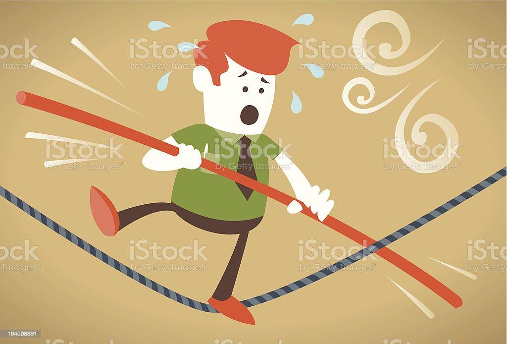 Corporate Guy walks the tightrope vector art illustration