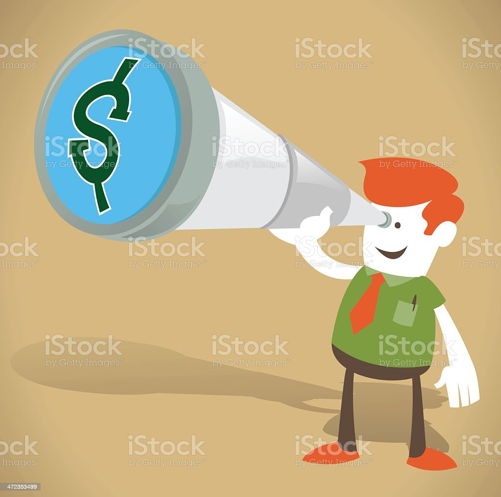 Corporate Guy with Money in his sights royalty-free stock vector art