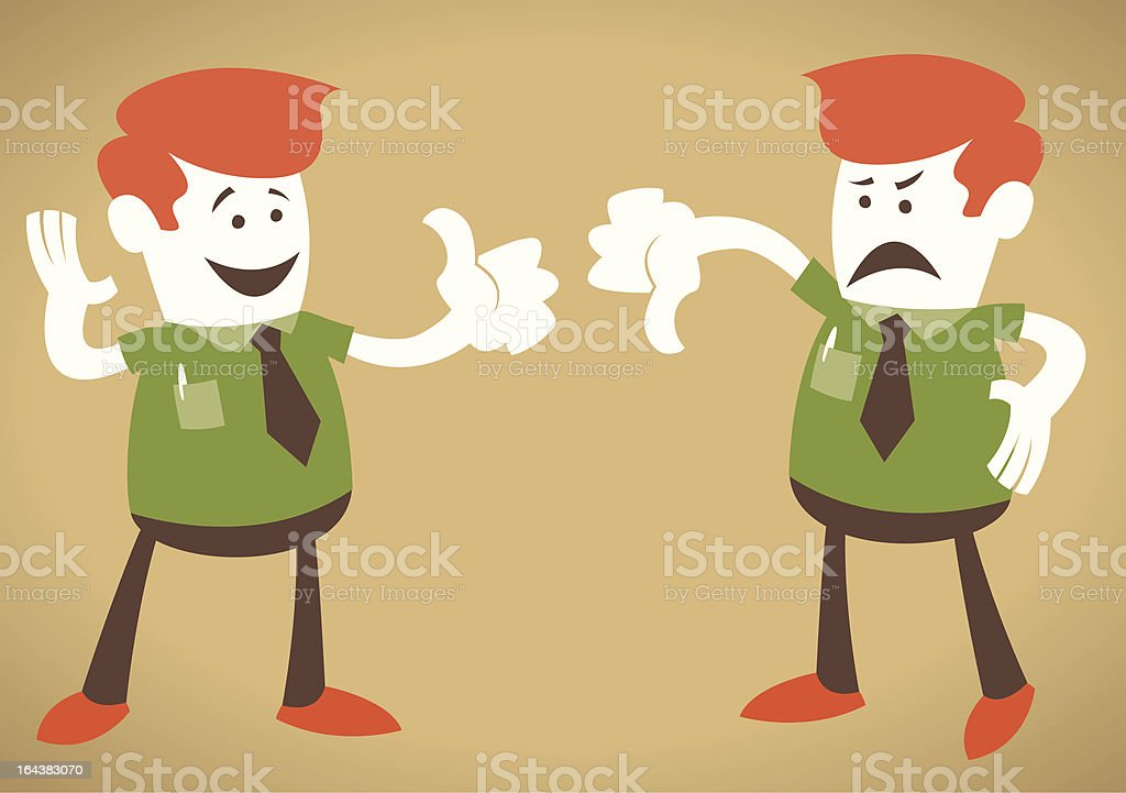 Corporate Guy with Thumbs Up and Down royalty-free stock vector art