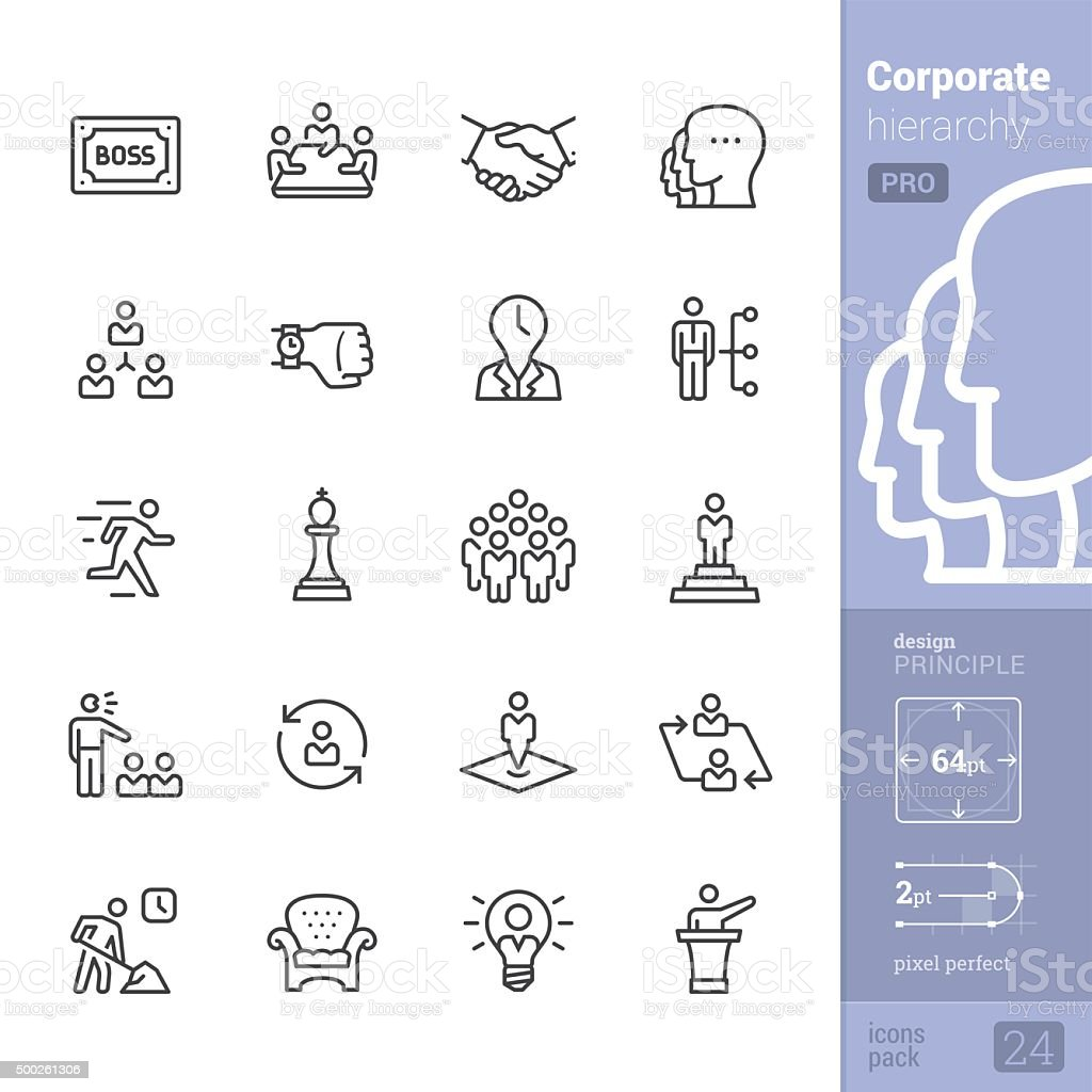 Corporate Hierarchy related vector icons - PRO pack vector art illustration