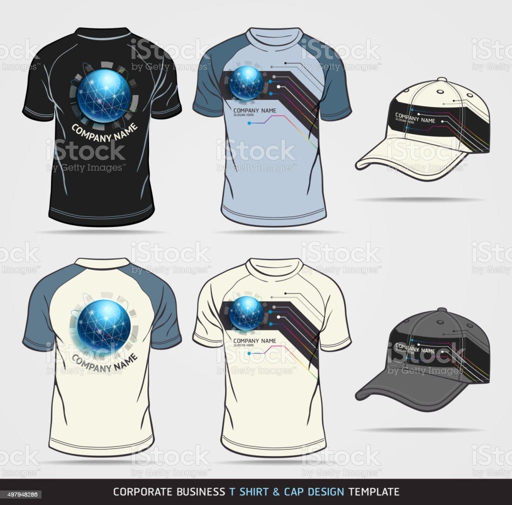 Corporate Identity Business Set. T-shirt and cap Design Template vector art illustration