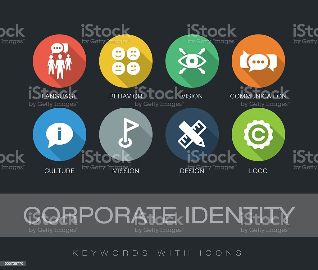 Corporate Identity keywords with icons vector art illustration
