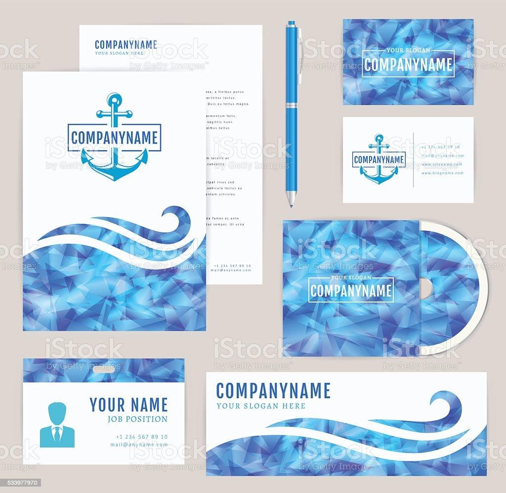 Corporate identity set. Sea collection. vector art illustration