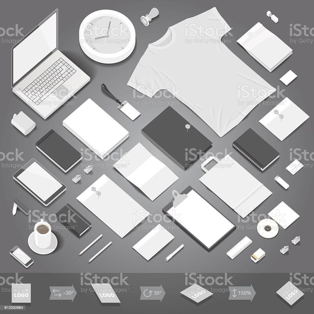 Corporate identity stationery mockup vector art illustration