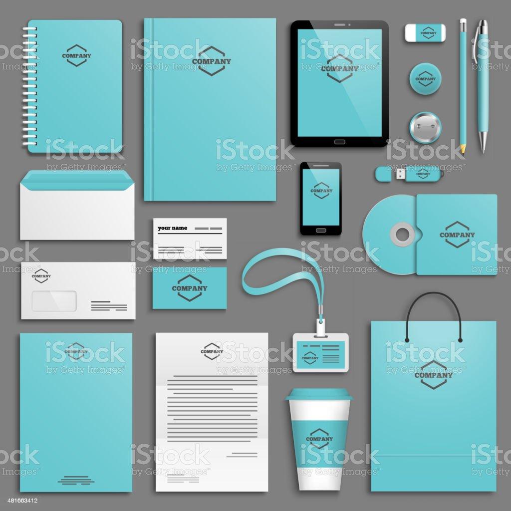 Corporate identity template set vector art illustration