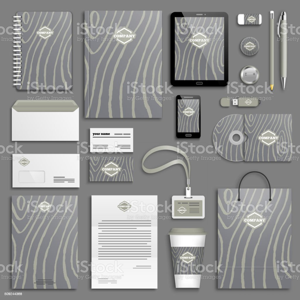 Corporate identity template set vector art illustration