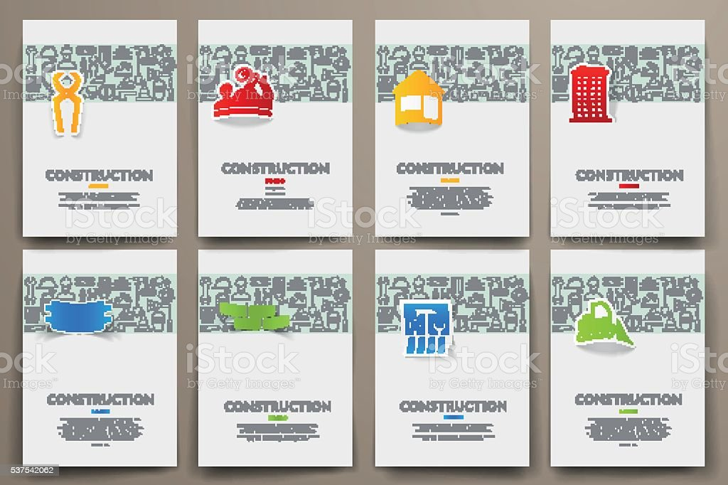Corporate identity vector templates set with doodles construction theme vector art illustration