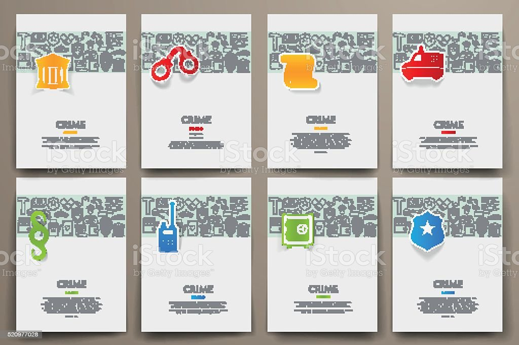 Corporate identity vector templates set with doodles crime theme vector art illustration