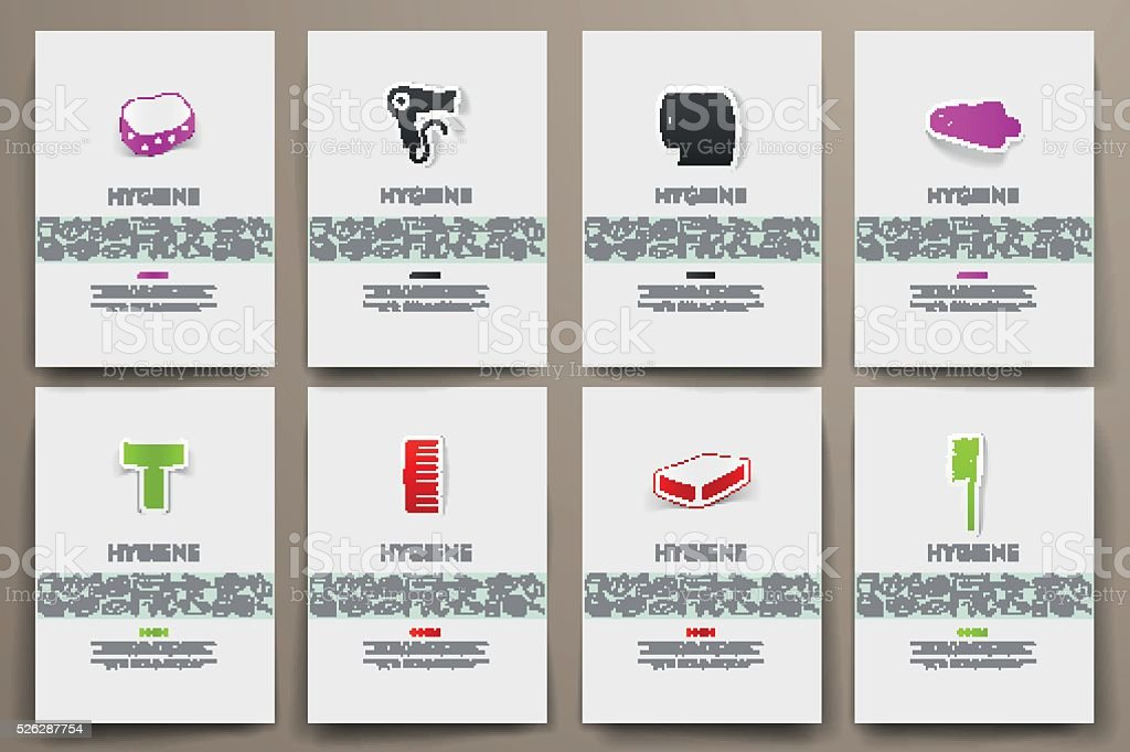 Corporate identity vector templates set with doodles hygiene theme vector art illustration