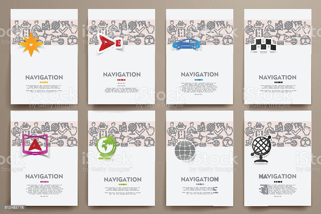 Corporate identity vector templates set with doodles navigation theme vector art illustration