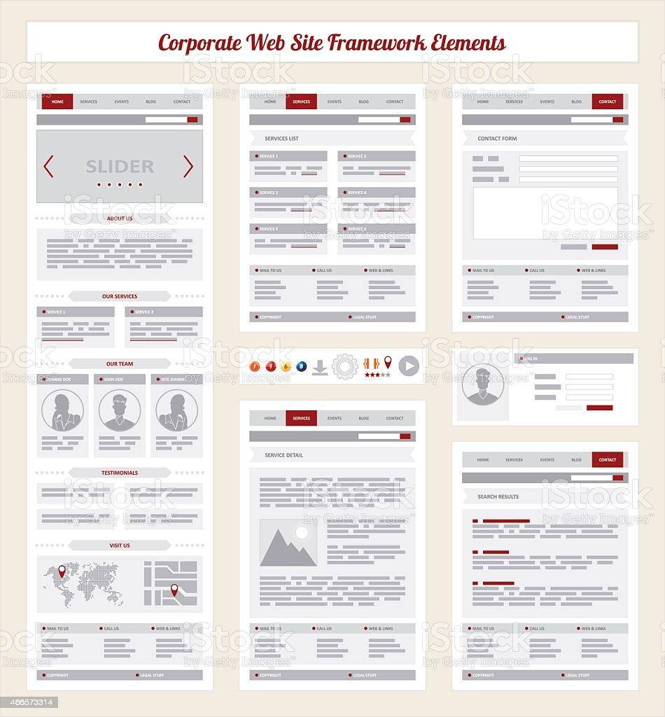 Corporate Internet Site Navigation Map, Structure Prototype Framework vector art illustration