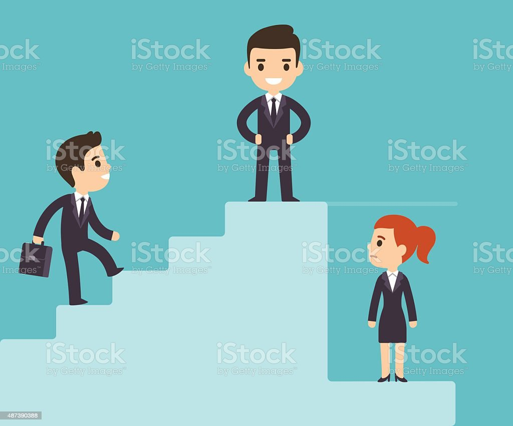 Corporate ladder and glass ceiling vector art illustration