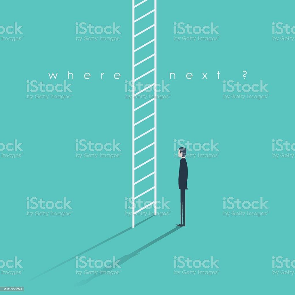 Corporate ladder concept illustration. Businessman making big career decision vector art illustration