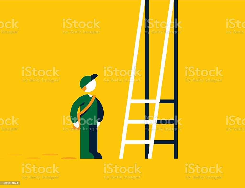 Corporate Ladder Problem vector art illustration