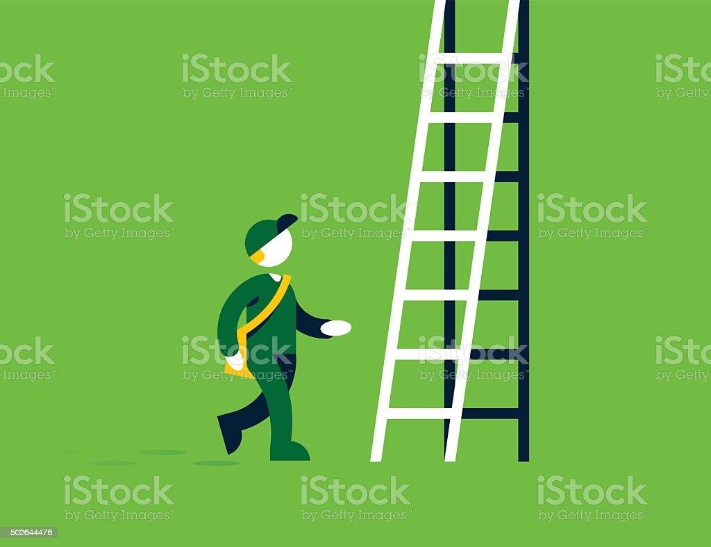 Corporate Ladder Solution vector art illustration