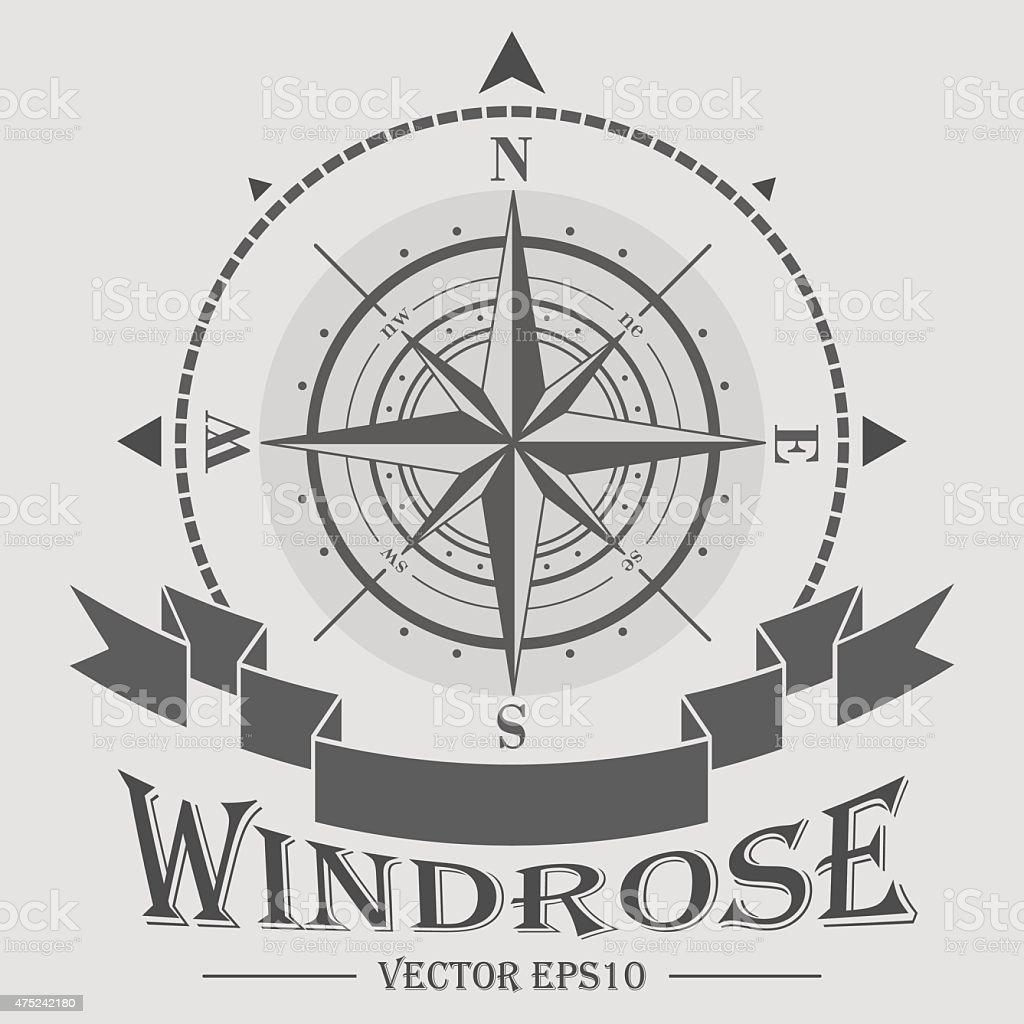 Corporate logo with windrose vector art illustration