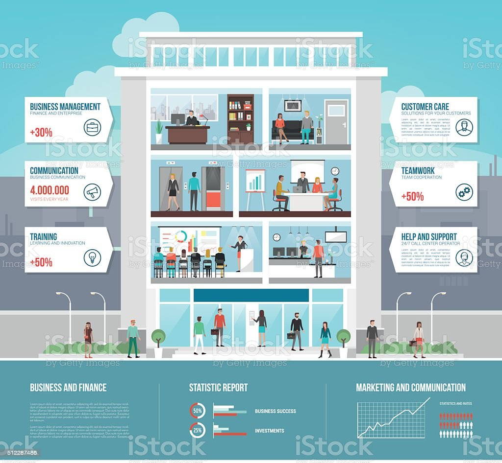 Corporate office building vector art illustration