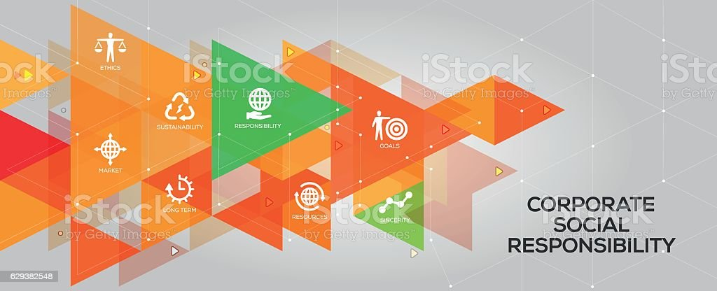 Corporate Social Responsibility banner and icons vector art illustration