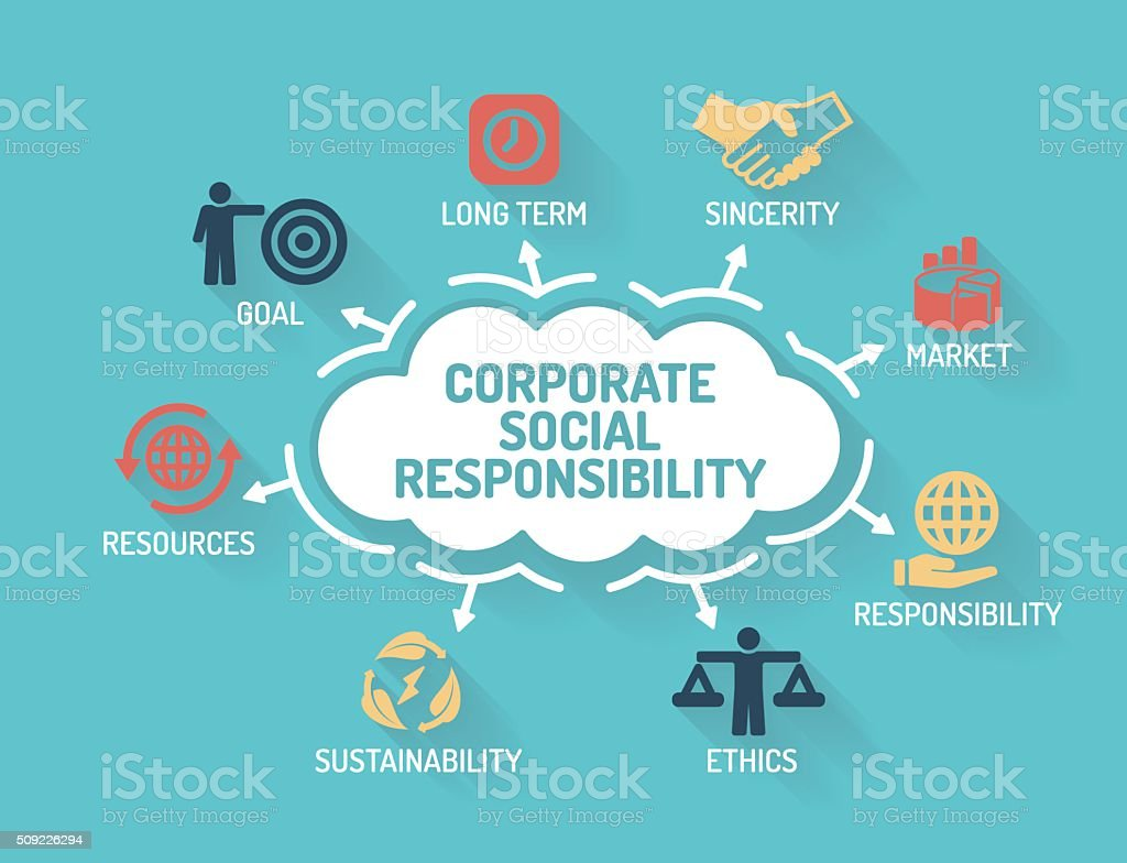 Corporate Social Responsibility - Chart with keywords and icons vector art illustration