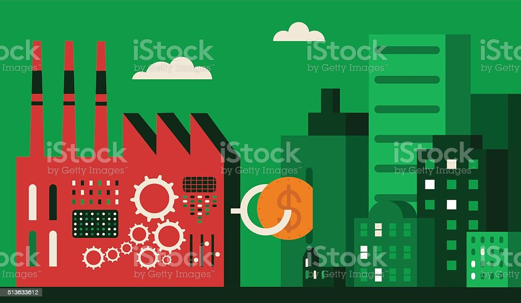 Corporate Social Responsibility: Factory vector art illustration