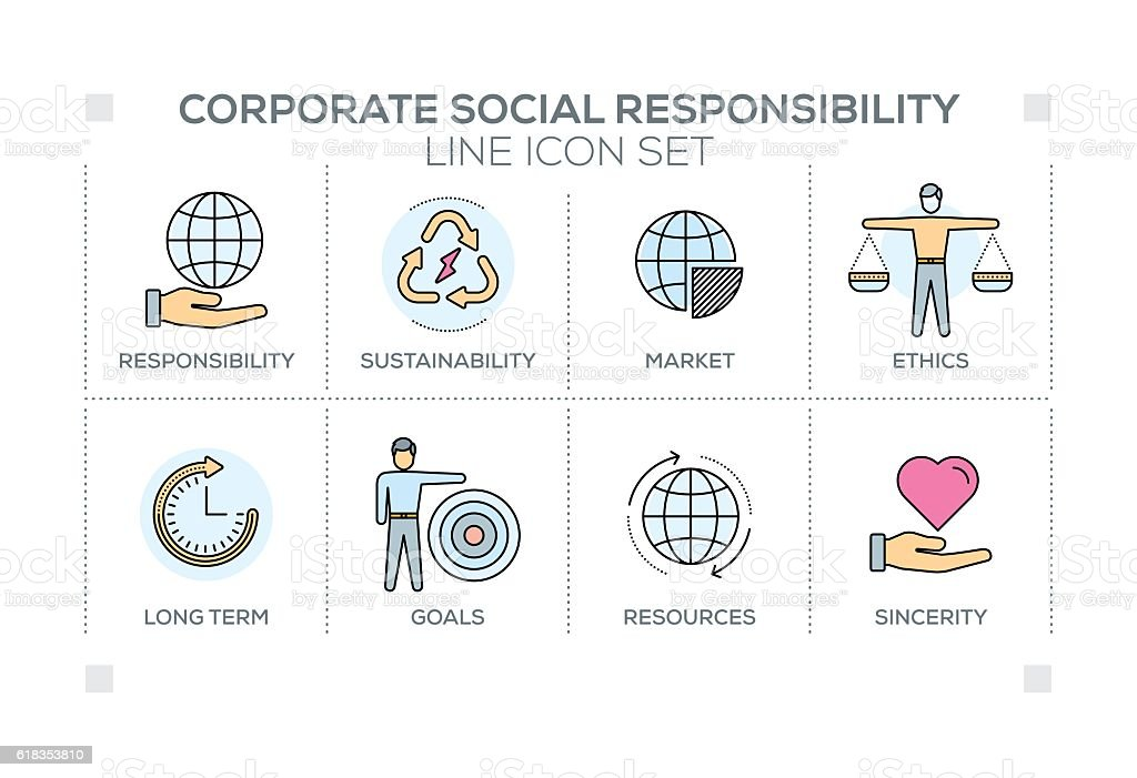 Corporate Social Responsibility keywords with line icons vector art illustration