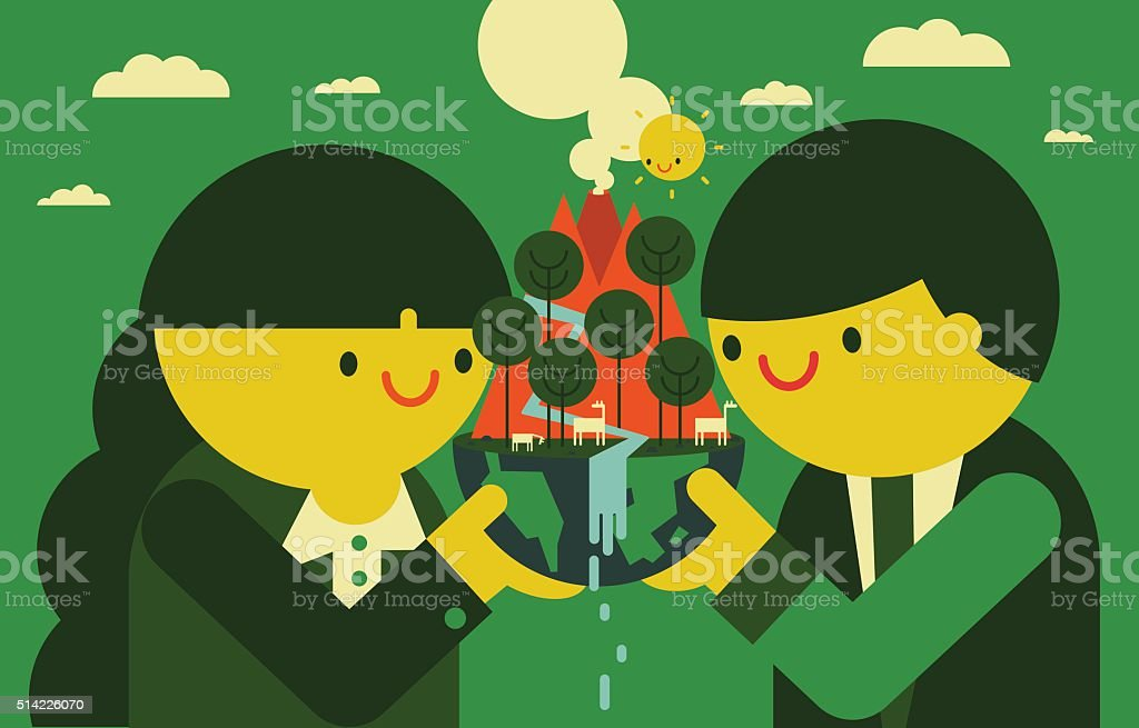 Corporate Social Responsibility: Nature vector art illustration
