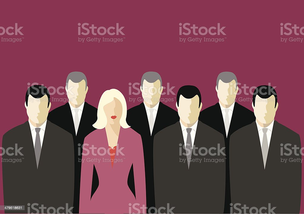 Corporate suits - and one dress. (vector & jpg) royalty-free stock vector art