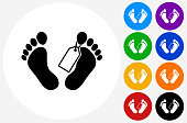 Corpse Tag Icon on Flat Color Circle Buttons