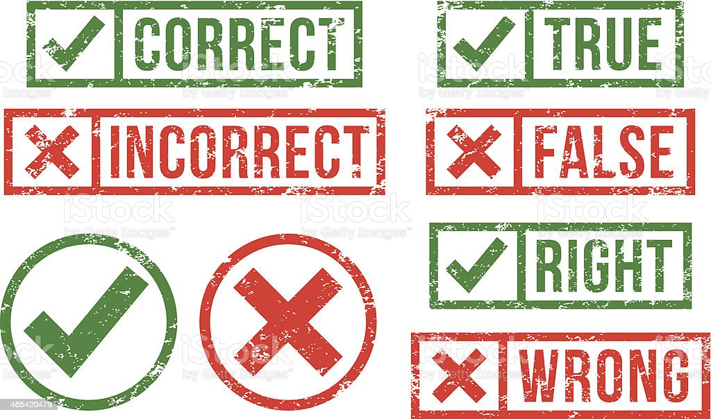 Correct, incorrect rubber stamps vector art illustration