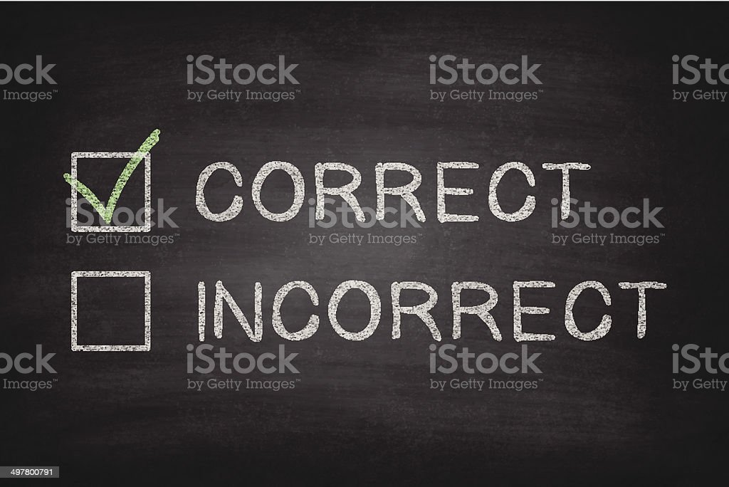 Correct or Incorrect Checkboxes on Blackboard - Chalkboard royalty-free stock vector art