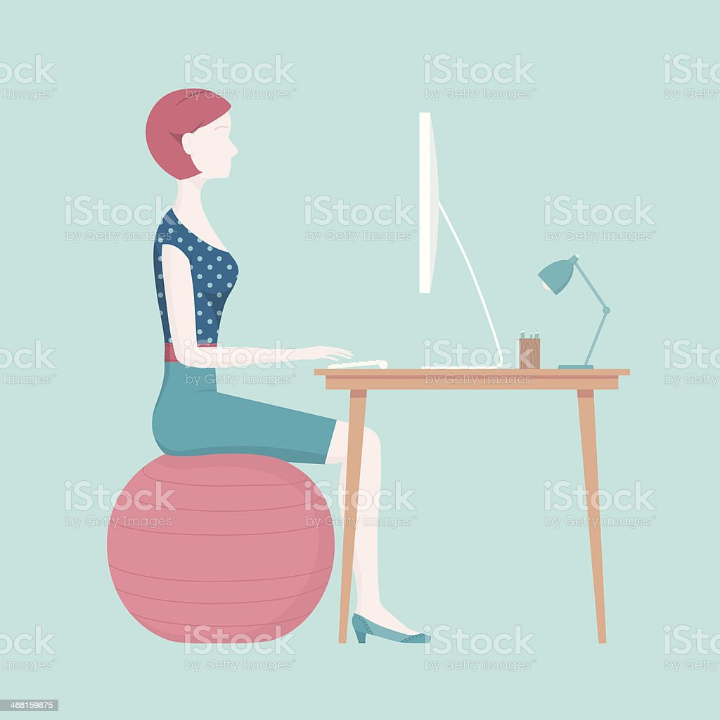 Correct Sitting Posture - Stability Ball vector art illustration