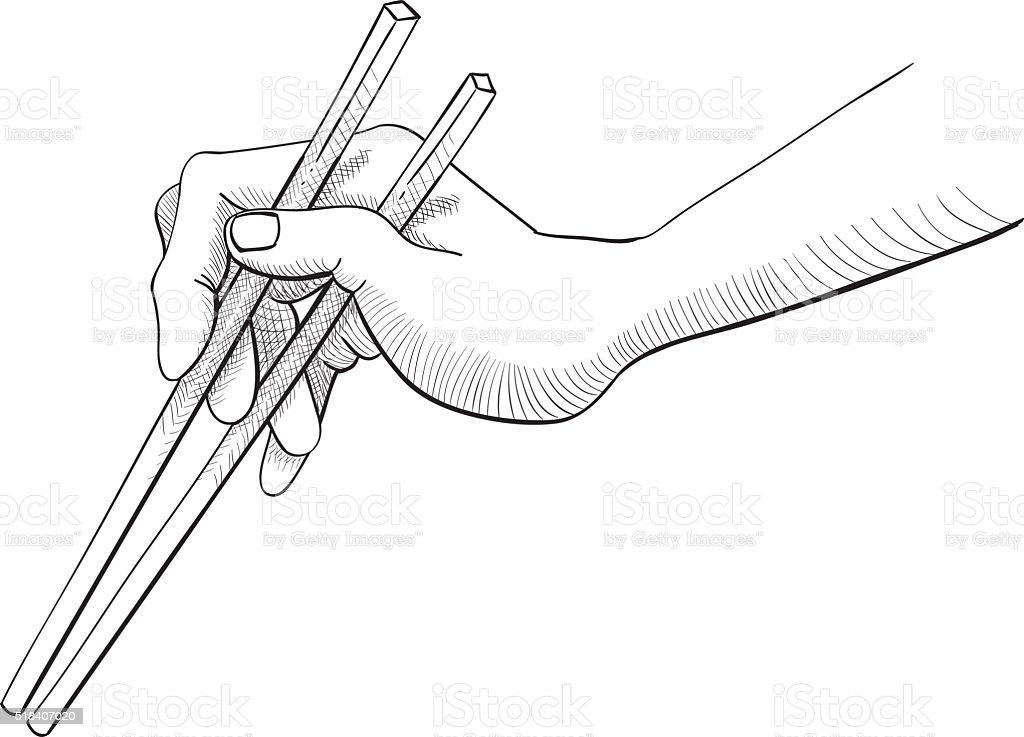 Correct Way of Holding Chopsticks Black and White Line Sketch vector art illustration