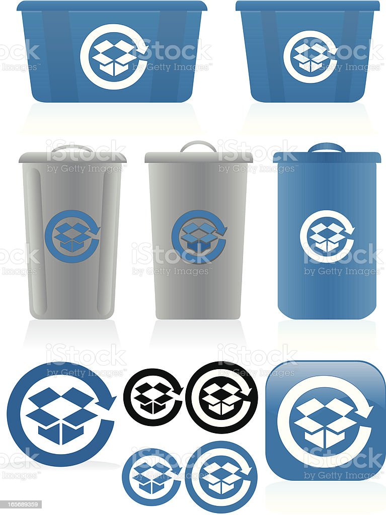 Corrugated Cardboard Recycling Symbols, Bins Set - Blue, White, Gray vector art illustration