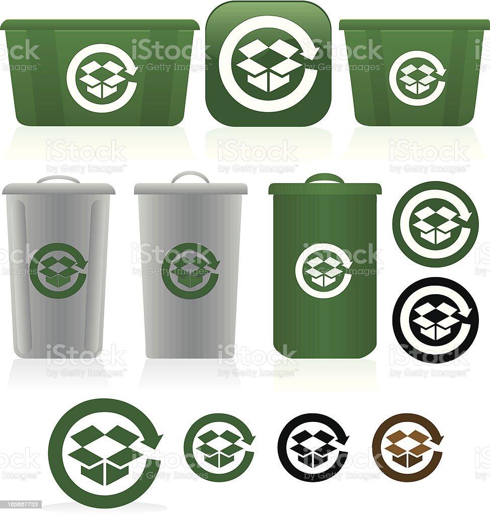 Corrugated Cardboard Recycling Symbols, Bins Set - Green, White, Gray vector art illustration