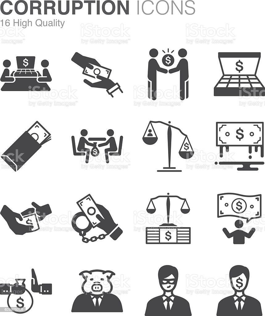 Corruption and bribery icons set vector art illustration