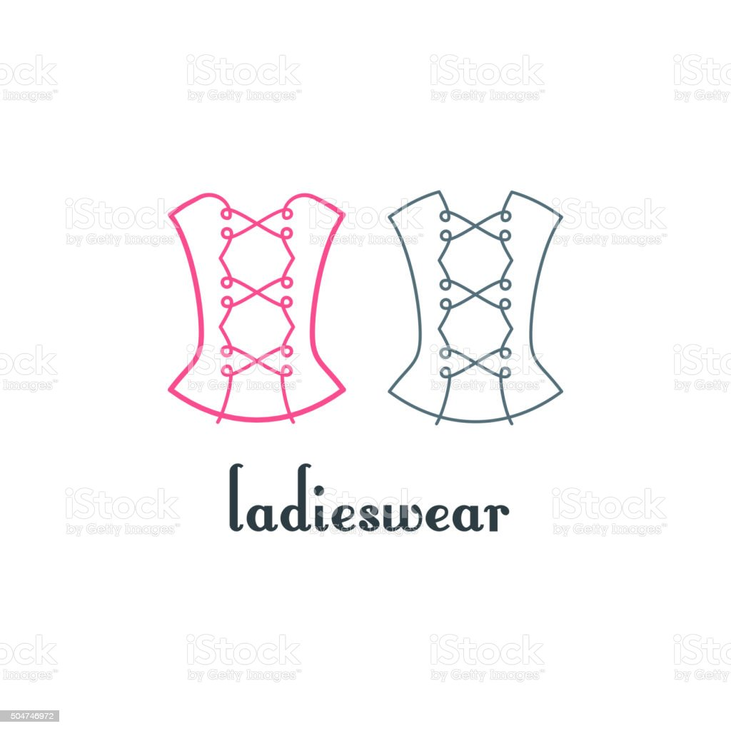 Corset Logo Design. Vector Isolated Linear Symbol. vector art illustration